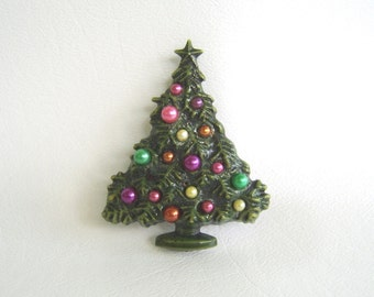 Vintage Tree, Christmas Tree, Christmas Brooch, Pearl Ornaments, Holiday Pin, Christmas Jewelry, Evergreen Tree, Christmas Pin, Festive