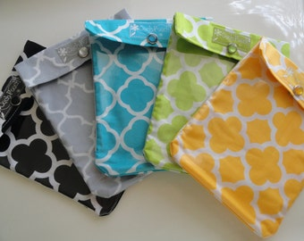 1 Medium Ouch Pouch First Aid Diaper Bag Purse Office Backpack Travel Organizer 5x7 Assorted Quatrefoil Fabric Mother's Day Under 10