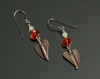 Rustic Copper Heart Valentine's Earrings, Copper Heart Jewelry, Unique Jewelry Shop, Unique Gift for Her, Mom, Women's Gift, Girlfriend Gift