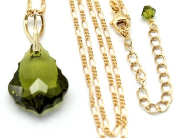 Olivine Green Pendant Gold Filled Baroque Swarovski Crystal 22 mm Huge Pendant Green Necklace Bridal Jewelry White Green Classic Pearls