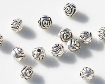20  Round Silver Flower Beads BD404