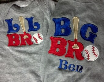 Big Brother LIttle Brother Matching Set Baseball Custom Personalized Shirt Boys Name Included