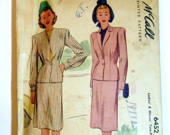 1940s Suit Pattern: 40s Ladies Suit Pattern, McCall 6452, Two Piece Suit