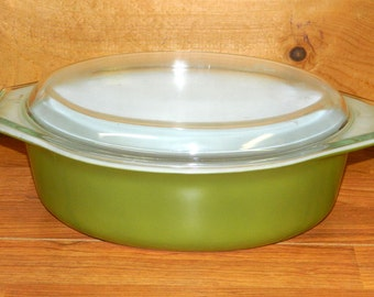 Vintage Pryex Oval Bowl & Lid Casserole Handles Olive Green White Clear 2 1/2 Quart Kitchenware Bakeware  Cooking CrabbyCats, Crabby Cats