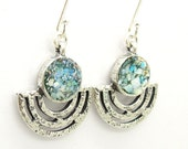 Candelabrum design silver earrings with roman glass