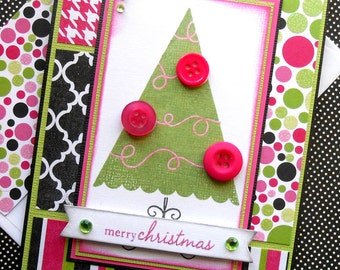 Christmas Card with Matching Embellished Envelope - Berry Button Tree