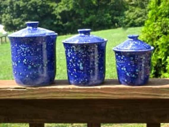 kitchen canisters, blue