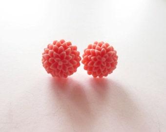 Salmon pink earrings.  Pink mum earrings.  Pink flower earrings.  Stud earrings.  Post earrings.  Clip on earrings.  Unpierced ears.