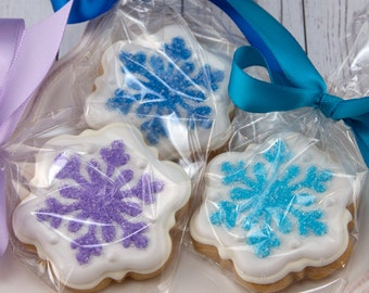 Snowflake Cookies, Christmas Cookies, Frozen - MINI SIZE Cookies, 2 dozen