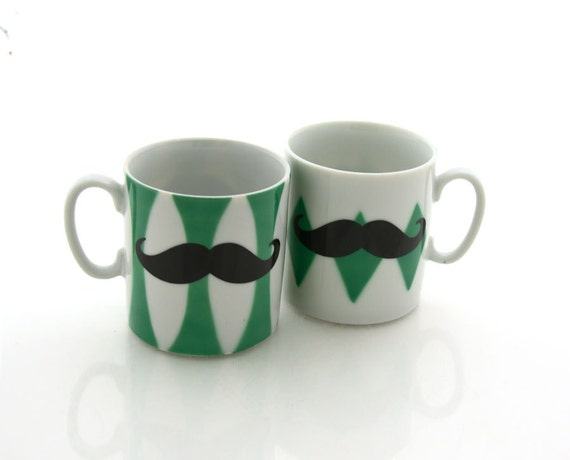 RESERVED  for Franca espresso mustache moustache set, two porcelain cups with green pattern, His and his, geometric