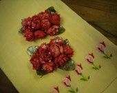 1950s Dark Pink Shoe Clips with Roses