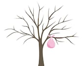 DIY Fingerprint Tree Poster - Pink - Instant Download - Small