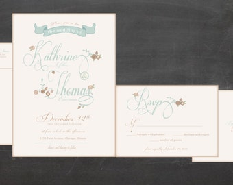 Floral wedding Invitation   Budget Invitation Customize colors and fonts   with envelopes and return address printed