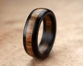Size 9 - Ebony Wamara Wood Ring - 7mm