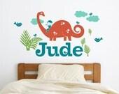 Dinosaur Name Wall Decal Brontosaurus Boy Personalized Name Dinosaur Baby Nursery Cute Dino Room Theme Decor Dino Wall Stickers
