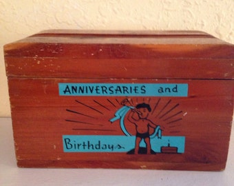 Small Vintage Cedar box for Birthday File from Petrified Forest