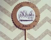 1 Dozen Vintage Alice In Wonderland Cupcake Picks