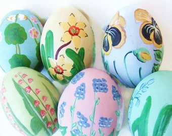 6 Easter Eggs Hand Painted Flowers