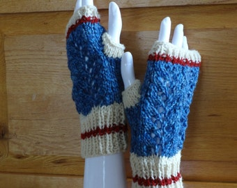 Medium Lace Blue  Worksock Texting Mitts, Fingerless Gloves, Miller's Mitts