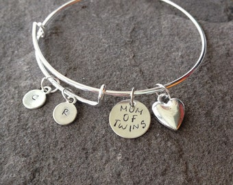 inspired custom stamped brag bracelet mommy of boys bangle charm bracelet push present