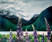 Lupines by the Sea, Landscape Painting - Photo Print on Paper