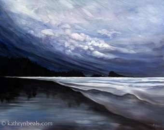 Stormy Skies over Tofino Beach, Landscape Painting - Stretched Canvas Giclee Gallery Wrap