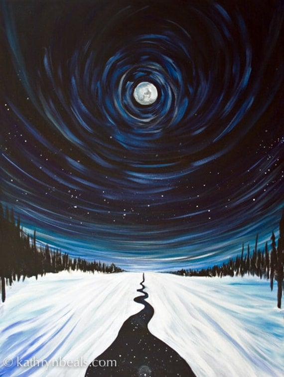 Snow, Moon and Stars, Landscape Painting - Photo Print on Paper