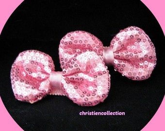 Pink Sparkley Bow Clips,Hair Accessories,Wedding,Flower Girl,Marathon, Photo Prop,Coulture Bow,Baby Showe Gift,Pig Tails,Toddler Accessories