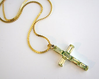Vintage gold cross necklace with green rhinestones (N15)