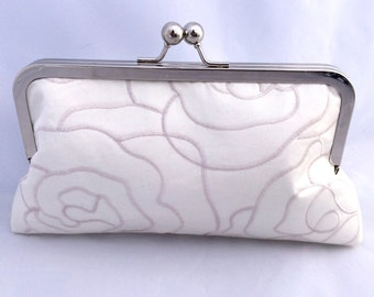 On Sale Bridal Clutch in Ivory Satin Floral Embroidered Clutch Handbag Ready to Ship- Last one available!