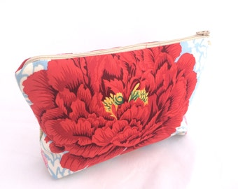 Bridesmaids Gift Cosmetic Bag Great gift for friend or Bridesmaids Gift Floral Cosmetic Bag with pink and red peonies- Size Large