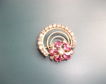 Antique Vintage 12kt GF Signed S & W Clear and Pink Glass Rhinestone Circle Brooch Pin