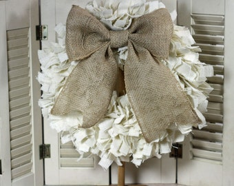 "16""  Handmade Burlap Rag Wreath Choice of Color"