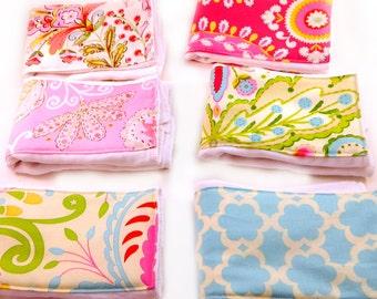Girl Burp Cloths Set - Pink Blue Green Flowers Set of 6 - Diaper Burp Clothes  // Cotton Burp Cloths // Baby Shower Gift / Flower Burp Cloth