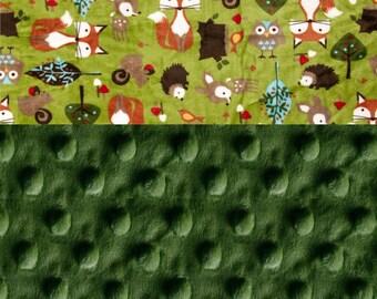 Personalized Baby Blanket boy - Woodland Animal Minky Baby Blanket Boy, Green Foxes Hedgehogs Stroller