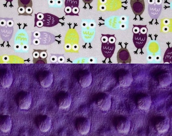 Personalized Baby Blanket - Minky Baby Blanket Girl,- Owls Lavender Purple Green Blue