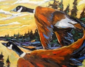 Geese In Flight - Original Large Oil Painting - Landscape - created by Prankearts
