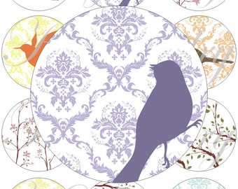 Birds and branches images large circles for pocket mirrors and more digital collage sheet No.1527
