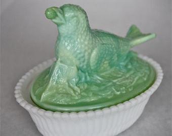 Covered bird dish-green bird dish-green slag glass bird dish-slag glass-summit bird dish-summit covered bird dish-summit slag glass