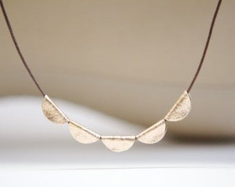 Bronze Necklace Eighth Anniversary Gift for Her Bronze Jewelry 8th Anniversary Boho Cotton Cord Simple Geometric Jewelry for Wife Gold Tone