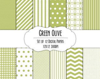 Green Olive Digital Scrapbook Paper 12x12 Pack - Set of 12 - Polka Dots, Chevron, Gingham - Instant Download - Item# 8229