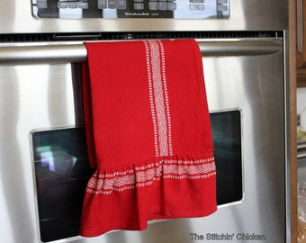 Ruffled Scandinavian Tea Towel - Red with a White Border Print