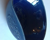 Item 235 Shiny Dark Blue Stamped Berry Bowl