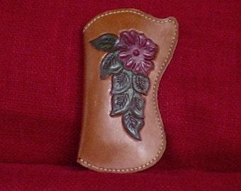 Handmade LEATHER EYEGLASS CASE Floral Rose