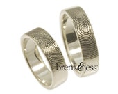 Set of fingerprint wedding rings 6mm/6mm--Set of Two-- Custom Fingerprint rings or Commitment Bands with Single Fingertip Whorl Print