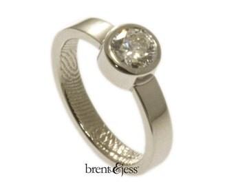 Platinum and Diamond Fingerprint Engagement Ring, Promise Ring, Commitment Ring, Wedding Band