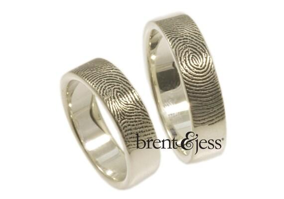 Set of fingerprint wedding rings 6mm/6mm--Set of Two-- Custom Fingerprint rings or Commitment Bands with Single Fingertip Whorl Print