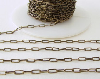 Antiqued Brass Ox Chain Drawn Cable Delicate Soldered Links TierraCast 6x2mm chn0163 (1 foot)