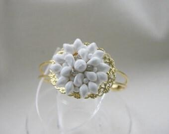 White Gold Cuff Bracelet Crystal Rhinestones