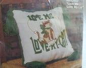 Love Me Love My Cat, vintage cat Needlepoint, vintage 1978, needlepoint kit, kappie originals ltd, sewing kit,home decor,unique